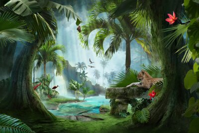 Plakat beautiful jungle beach lagoon view with a jaguar, palm trees and tropical leaves, can be used as background