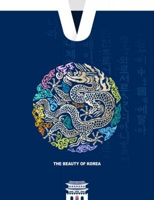 Plakat Beautiful Korea. Traditional Gwanghwamun palace, Joseon royal gown, dragon pattern vector illustration. Hunminjeongeum, Korean translation.