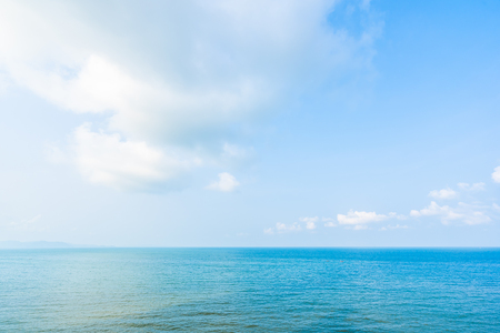 Plakat Beautiful landscape of sea ocean with white cloud and blue sky with copy space for leisure travel and vacation
