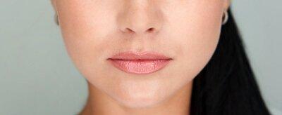 Plakat Beautiful lips Close-up. Makeup. Lip matte lipstick. Sexy lips. Part of face, young woman close up