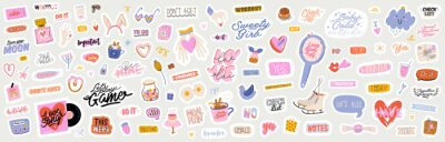Plakat Beautiful love stickers with Valentines day elements and quotes. Romantic cartoon image and trendy lettering. Vector hand drawn flat illustrations, sign, objects for planner and organizer.