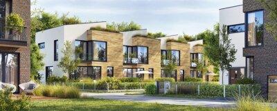 Plakat Beautiful modern homes. Luxury townhouses