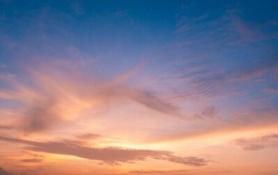 Plakat beautiful of Stratus cloud in sunset background for forecast and meteorology concept