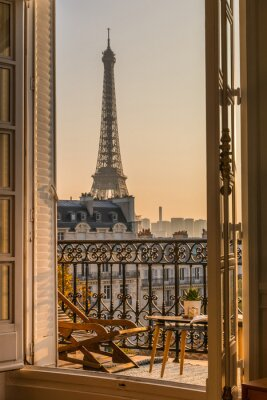 Plakat beautiful paris balcony at sunset with eiffel tower view
