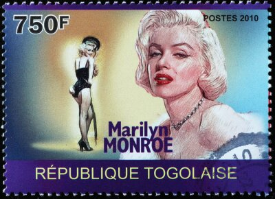 Plakat Beautiful portrait of Marylin Monroe on postage stamp of Togo
