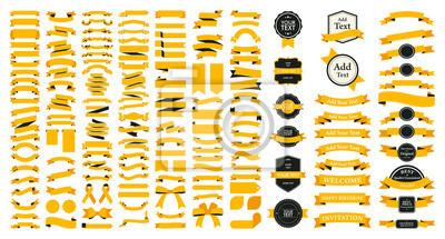 Plakat Beautiful Ribbons, Tags and Bows Collection Set Vector Design Eps 10