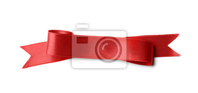 Plakat Beautiful satin ribbon on white background. Mockup for design