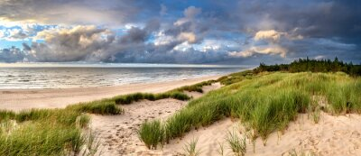 Plakat Beautiful see landscape panorama, dune close to Baltic See, Slowinski National Park, Poland