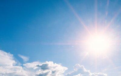 Plakat beautiful sky with sunbeams and cloud