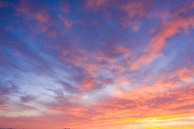 Plakat Beautiful sunset clouds in pink colors. Abstract nature background