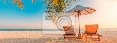 Plakat Beautiful tropical beach banner. White sand and coco palms travel tourism wide panorama background concept. Amazing beach landscape