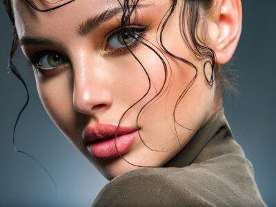 Plakat  Beautiful  woman Face with a bang. Model looking at camera. Sexy woman looks at camera.