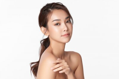 Plakat Beautiful young asian woman with clean fresh skin on white background, Face care, Facial treatment, Cosmetology, beauty and spa, Asian women portrait