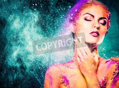 Plakat Beautiful young woman with conceptual colourful body art