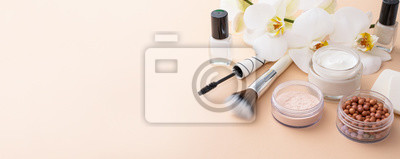 Plakat Beauty background with facial cosmetic products. Makeup, skin care concept.