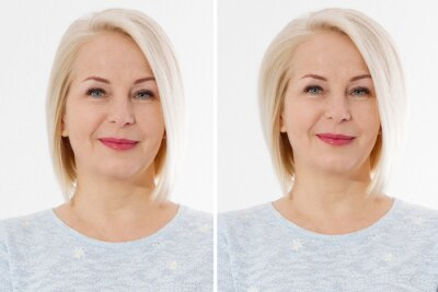 Plakat Before after thin hair and more valume hairstyle. Big volumized healthy hairstyling. Haircut and haircare concept. Blond middle aged woman before-after using shampoo and cosmetic products. Short hair