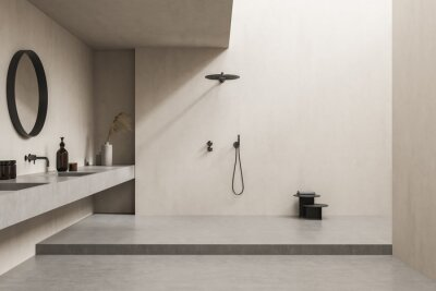 Plakat Beige bathroom with open shower and accent round mirror
