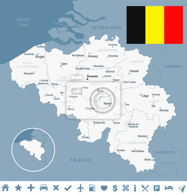 Plakat Belgia - mapa i flaga ilustracji