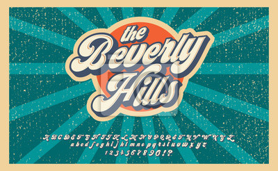 Plakat Bewerly Hills. Summer time. Retro 3d font in 80s style. Vintage typography. Summer font set.