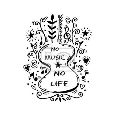 Bez Muzyki Nie Ma życia Literowanie Nowoczesne Kaligrafii Plakaty Redro