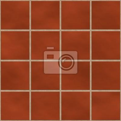 Plakat Bez szwu czerwony (cegła itp.) płytki kwadratowe tekstury