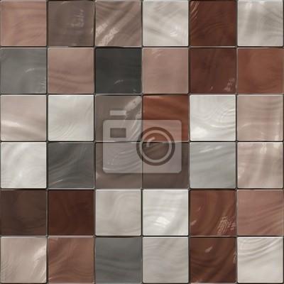 Plakat Bez szwu tekstury w błyszczące płytki brązowych odcieniach