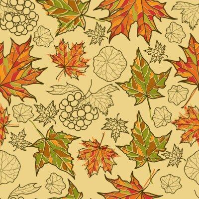 Plakat Bezproblemowa jesień wektor pozostawia wzór. Dziękczynienie