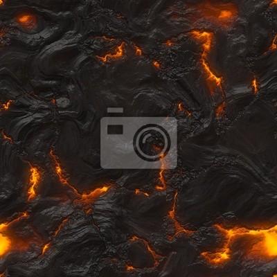 Plakat Bezproblemowa magma lub faktura lawa ze skał do topienia i ognia