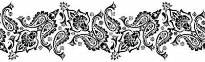 Plakat Bezszwowe czarny i biały tradycyjny indyjski Paisley granicy