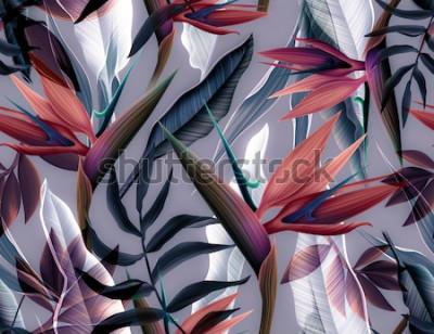 Plakat Bezszwowe tropikalny kwiat, roślina i liść wzór tła