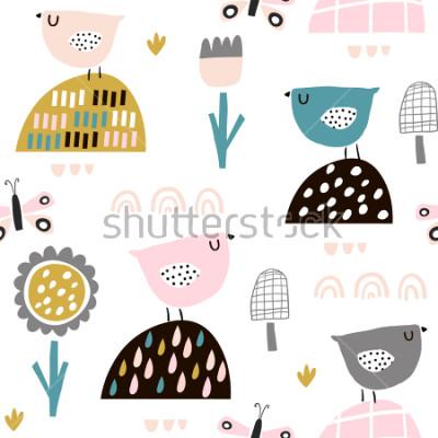 Plakat Bezszwowy dziecięcy wzór z czarodziejskimi kwiatami, ptakami, motylami. Twórcza tekstura dzieci na tkaniny, opakowania, tekstylia, tapety, odzież. Ilustracji wektorowych