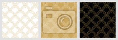 Bezszwowy tradycyjny japoński wzór zz elegancką złotą geometryczną linią dla Bożenarodzeniowego tła