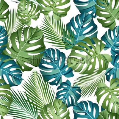 Plakat Bezszwowy wzór z tropikalnymi liśćmi: palmy, monstera, dżungla liścia bezszwowego wektoru wzoru zmroku tło. Projekt botaniczny stroje kąpielowe. Wektor.