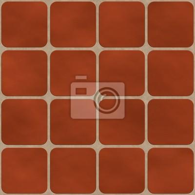 Plakat Bezszwowych tekstur z czerwonej cegły (jak) kwadratowych płytek z okrągłe kupić