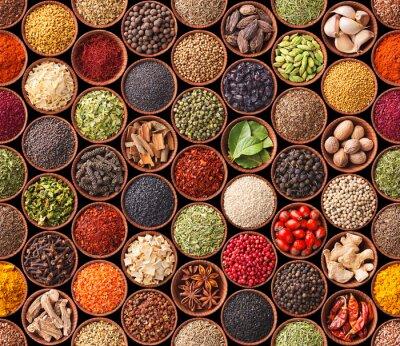 Plakat Bezszwowych tekstur z przyprawami i ziołami