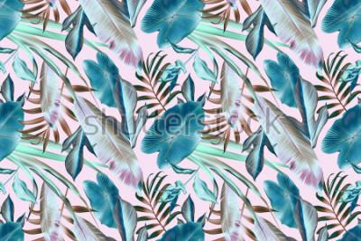 Plakat Bezszwowych tropikalnych liści deseniowy tło, retro botaniczny styl. Stylowy zwrotnik. Tropikalny wzór mody liści.