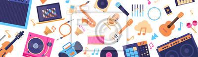Plakat Bezszwowych wzorców instrumentów muzycznych i urządzeń Elektronika Ikony płaski ilustracji wektorowych