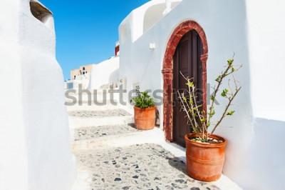 Plakat Biała architektura w Santorini wyspie, Grecja.