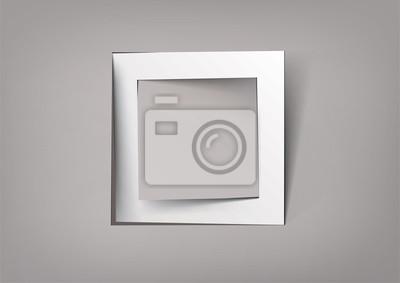 Plakat Biała kwadratowa cięcia papieru ramki
