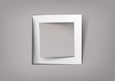 biała kwadratowa ramka z papieru ciętego
