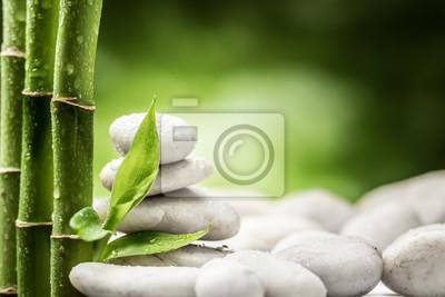 białe kamienie i liście bambusa