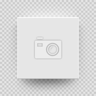 Plakat Białe pudełko makiety modelu 3D widok z góry z cienia. Wektor odizolowywał pustego karton otwartego lub białego papieru matchbook zbiornika pudełka pakunku szablon na przejrzystym tle