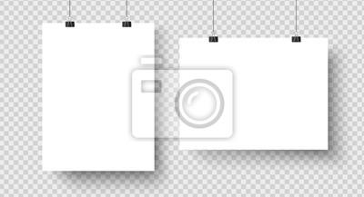 Plakat Białe puste plakaty wiszące na segregatorach. Strona papierowa A4, arkusz na ścianie. Wektor makieta