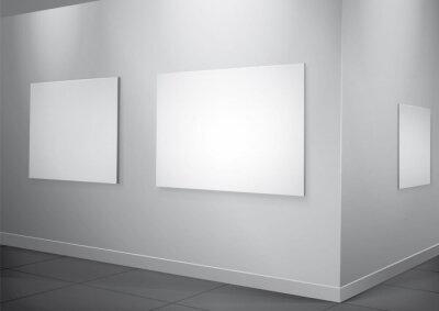 Białe wnętrze galeria z klatek oświetlenia na ścianie