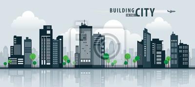 Plakat Biały budynek w mieście, perspektywy wieżowca. Architektura wektor.