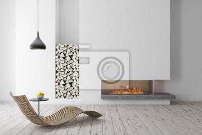 Plakat Biały kominek z drewnianym fotelem