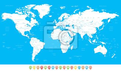 Plakat Biały Mapa świata i nawigacji ikony - illustration.Highly szczegółowej mapie świata: państwa, miasta, obiekty wodne.