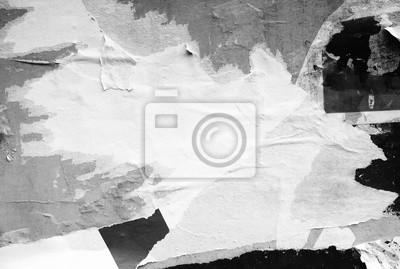 Plakat Biały papier zgrywanie puste tło rozdarty pognieciony afisz plakaty pognieciony grunge tekstury powierzchni / miejsca na tekst