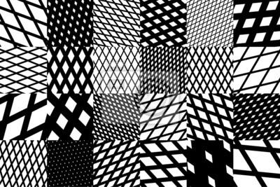biały z czarnym i białym krzyżem przekątnej wzór w paski