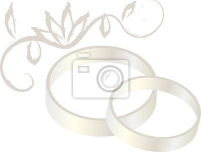 Plakat biały złote obrączki